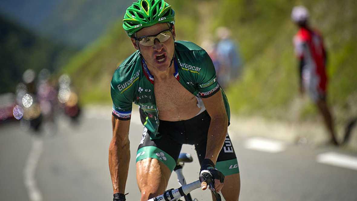 El ciclista francés de Europcar Thomas Voeckler se ha impuesto en la primera gran etapa pirenaica, en la que Evans ha dicho adiós al Tour y Zubeldia se ha alzado al quinto puesto de la general.