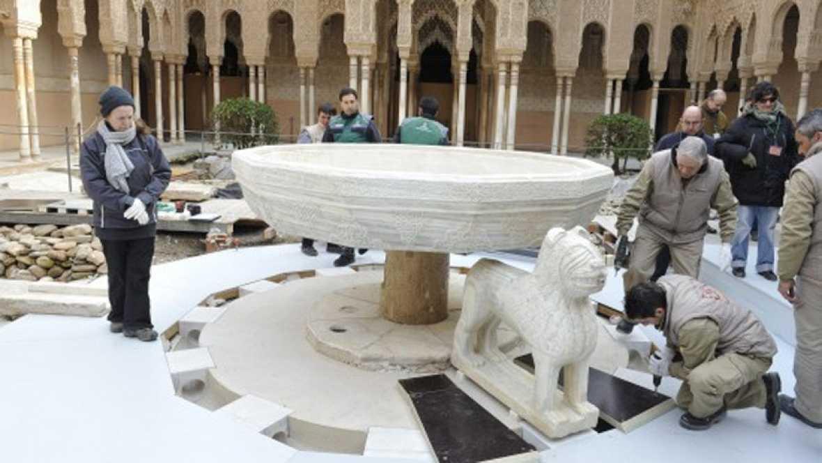 El Patio de los Leones abre hoy tras recuperar su imagen histórica