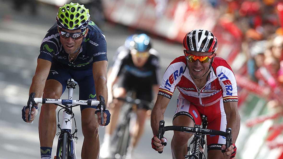 El español Alejandro Valverde, del Movistar, ha sido el ganador de la tercera etapa de la Vuelta a España disputada entre Oion y el Alto de Arrate, de 155,3 kilómetros, primer final elevado de la carrera, donde además se enfundó el maillot de líder.