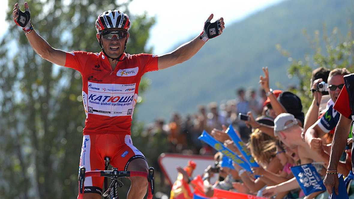 """El español Joaquim """"Purito"""" Rodríguez, del Katusha, ha ganado la sexta etapa de la Vuelta disputada a través de 175,4 kilómetros entre Tarazona y Jaca, por lo que refuerza el maillot rojo de líder. """"Purito"""" superó en 4 segundos al británico Chris Fro"""