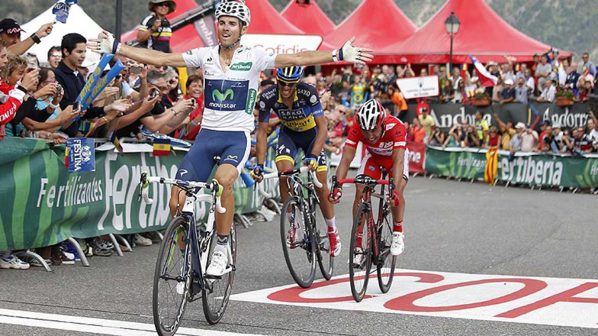 El corredor del Movistar Alejandro Valverde ha ganado la octava etapa de la Vuelta a España 2012 al pasar en primer lugar por el Collado de la Gallina, por delante de 'Purito' Rodríguez y Alberto Contador.