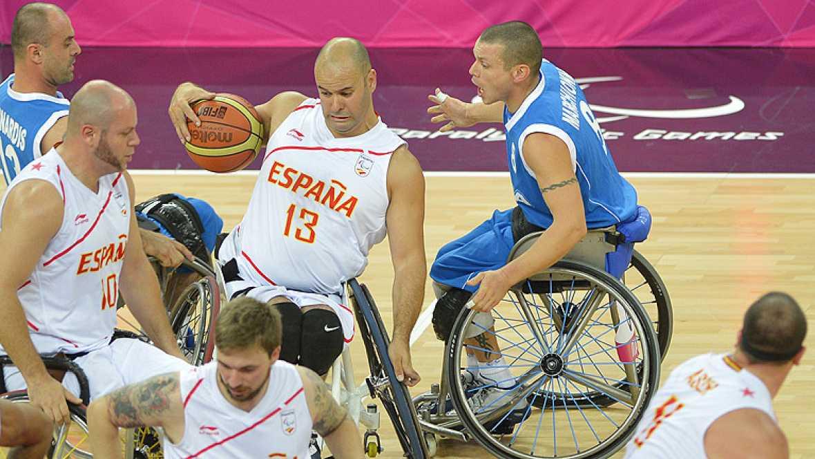 La selección española de baloncesto paralímpico ha empezado con una victoria frente a Italia su andadura en los Juegos Paralímpicos de Londres 2012.