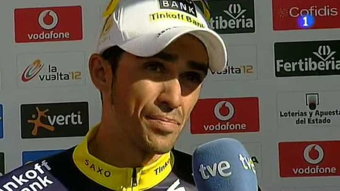 Una etapa más, el ciclista de Pinto ha atacado al líder de la Vuelta a España, 'Purito Rodríguez', sin éxito. Contador ha reconocido a TVE que echa de menos la lluvia.