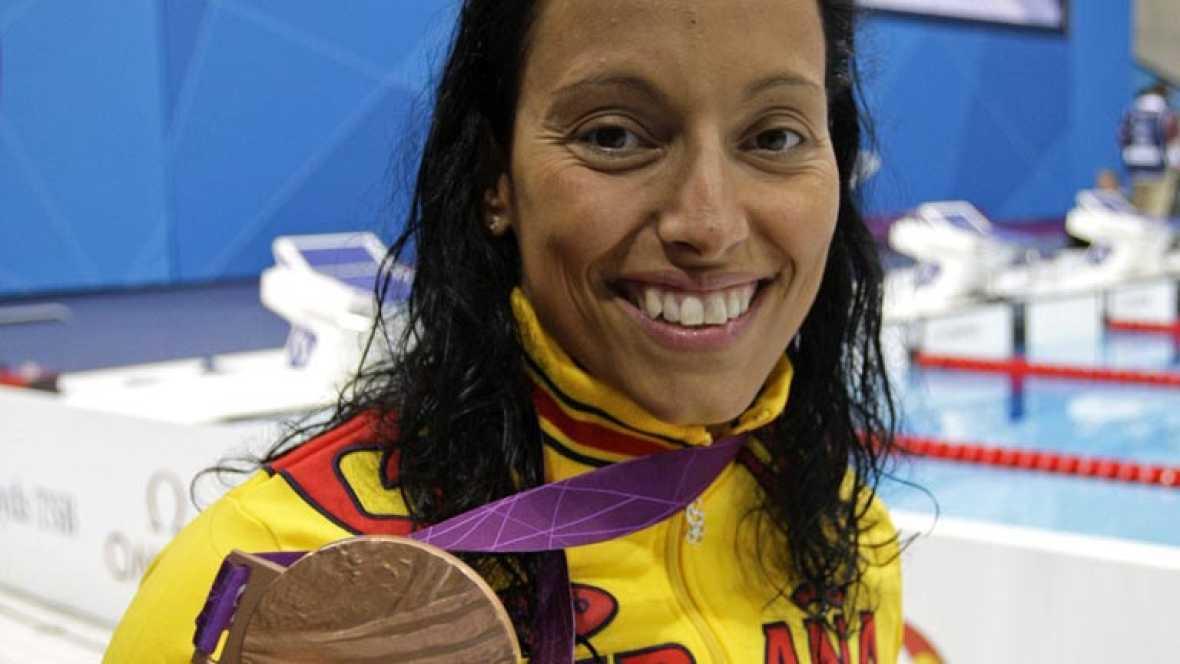 La nadadora española finaliza tercera en los 100 metros braza SB4 de los Juegos Paralímpicos de Londres 2012 y amplía su histórica colección de medallas.