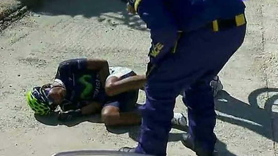Caída en el pelotón a falta de 31km. Entre los afectados estaba el colombiano del Movistar Nairo Quintana aunque el más perjudicado ha sido el corredor del Radioshack Linus Gerdemann que ha tenido que abandonar la carrera.