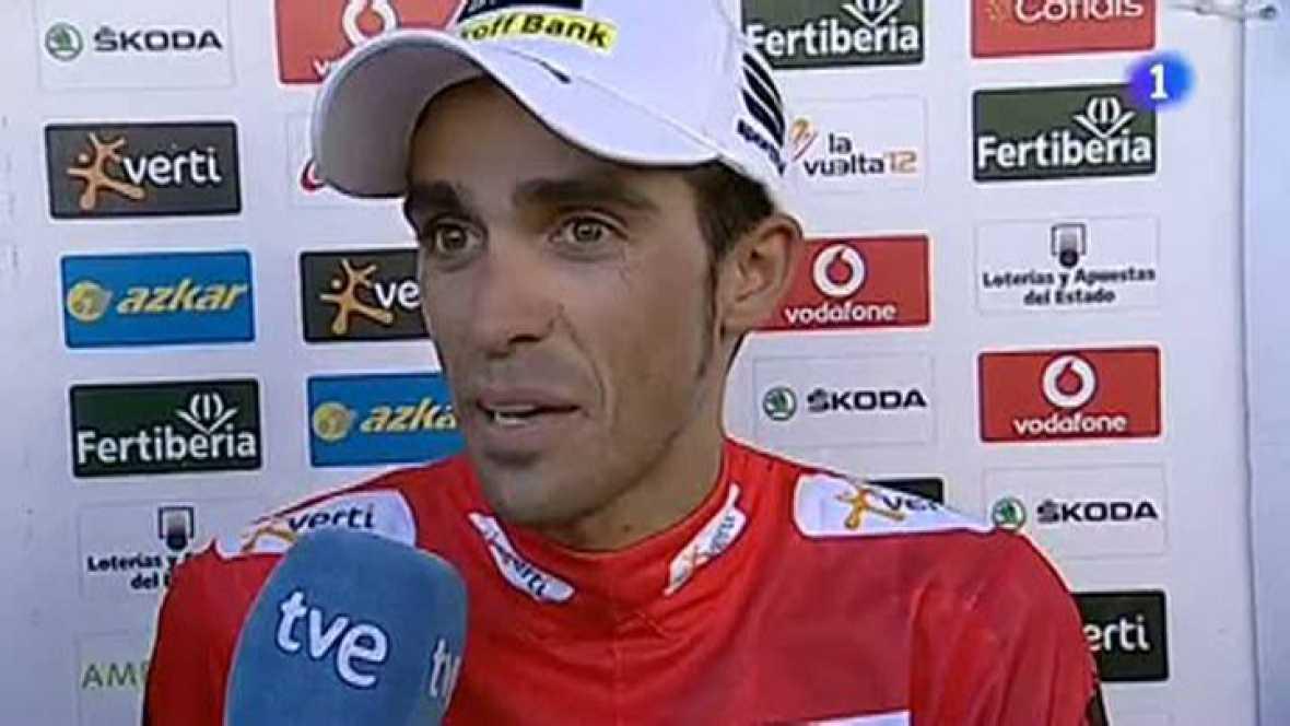 """El ciclista de Pinto estrena jersey rojo de líder de la Vuelta a España ante las cámaras de TVE y asegura que el equipo ha superado """"un día complicado""""."""