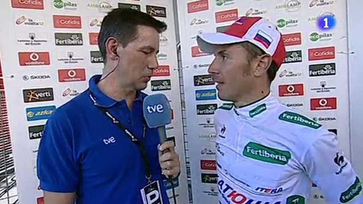 El corredor catalán ha vuelto a mostrar su mejor cara tras la ceremonia del podio de la Vuelta e incluso ha tenido sentido del humor con la perdida del liderato que sufrió en Fuente Dé.