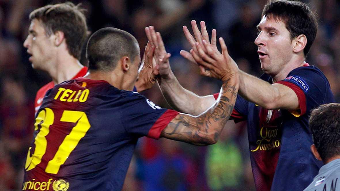 Una jugada escandalosa de Tello inició el empate del Barcelona. El canterano rompió a McGeady y a la defensa del Spartak antes de ceder atrás para el remate a gol de Messi.