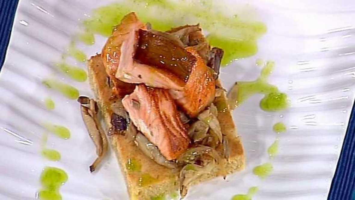 Cocina con sergio dados de salm n con bizcocho salado de - Cocina con sergio pepa ...