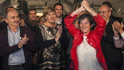 """La candidata de EH Bildu, Laura Mintegi, ha agradecido el histórico resultado electoral logrado por la coalición abertzale y ha advertido que no cederán ante las """"presiones"""" y las """"imposiciones de Madrid""""."""