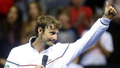 Juan Carlos Ferrero ha disputado este martes su último punto como tenista profesional en individuales ante Nico Almagro en el partido de primera ronda del Valencia Open 500.