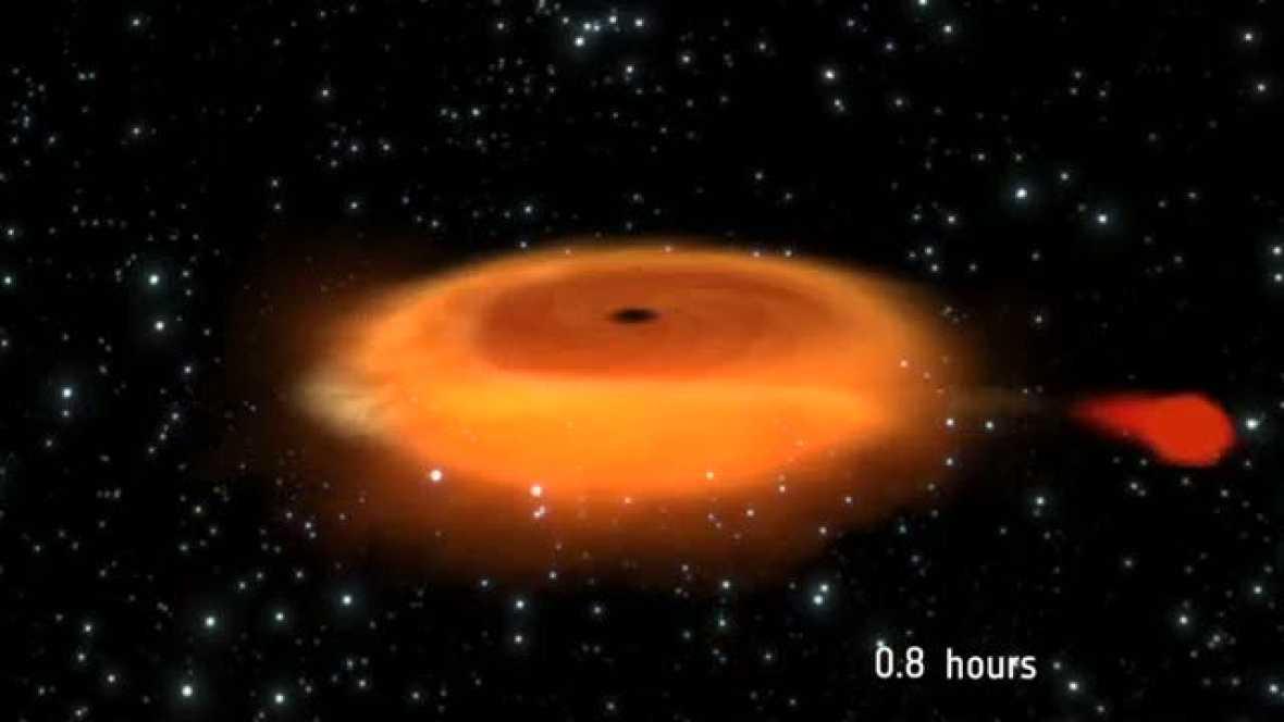Un agujero negro y una estrella que orbitan entre sí vertiginosamente