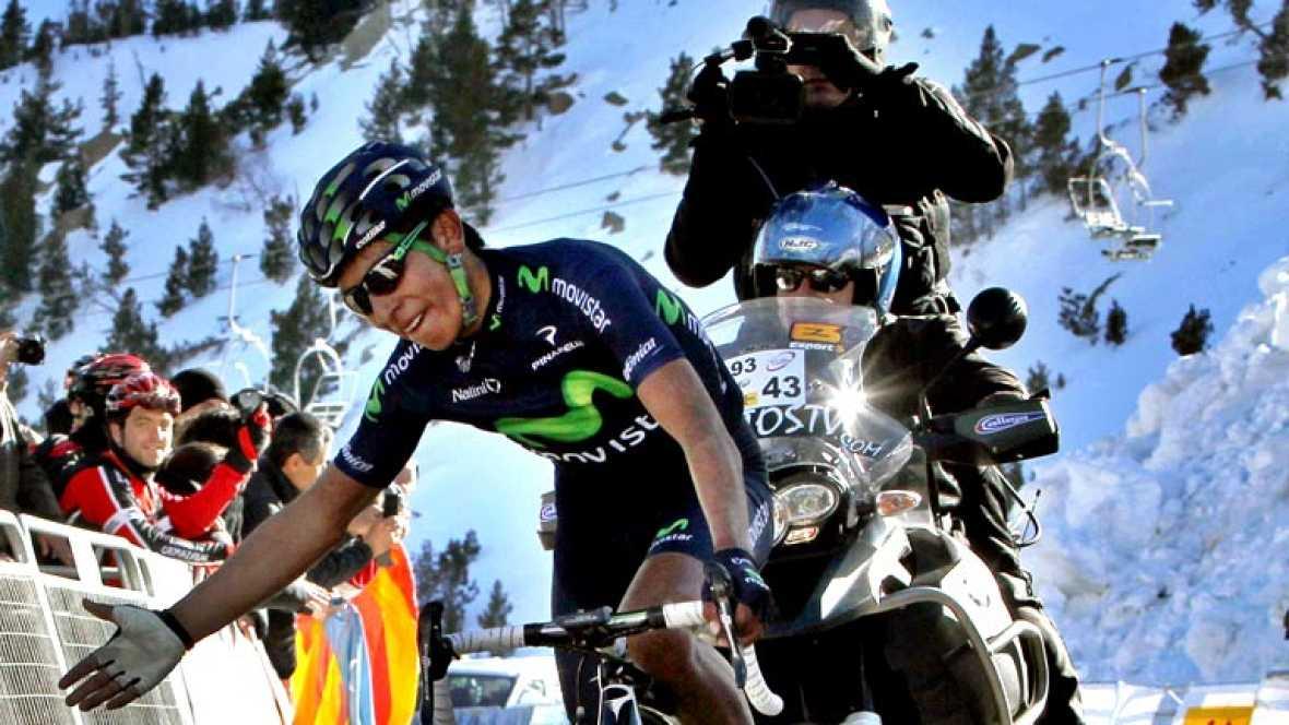 El ciclista Nairo Quintana (Movistar) se ha impuesto este  miércoles en la ascensión a la estación de esquí de Vallter 2000,  final de la tercera etapa de la Volta a Catalunya con salida en  Vidreres y sobre 180,1 kilómetros, por delante de su compañ