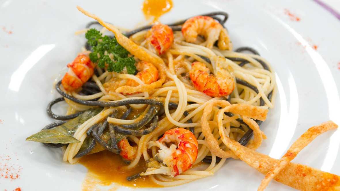 Saber Cocinar - Spaguetti con cangrejos y con tiras crujientes de trigo