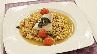 Saber Cocinar - Bacalao con garbanzos salteados con ajo y pulpo