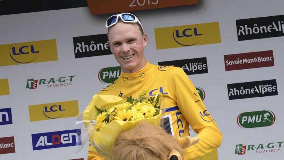 Alberto Contador se ha recuperado de la mala contrareloj que tuvo ayer en la Dauphine Libere. Este jueves ha luchado hasta el final por la victoria en una etapa alpina que terminaba en un puerto de categoría especial. Contador ha terminado segundo a