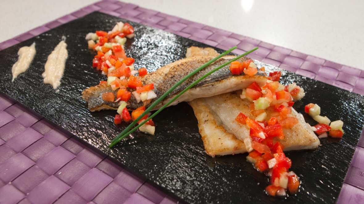 saber cocinar lubina a la plancha con verduras vinagreta