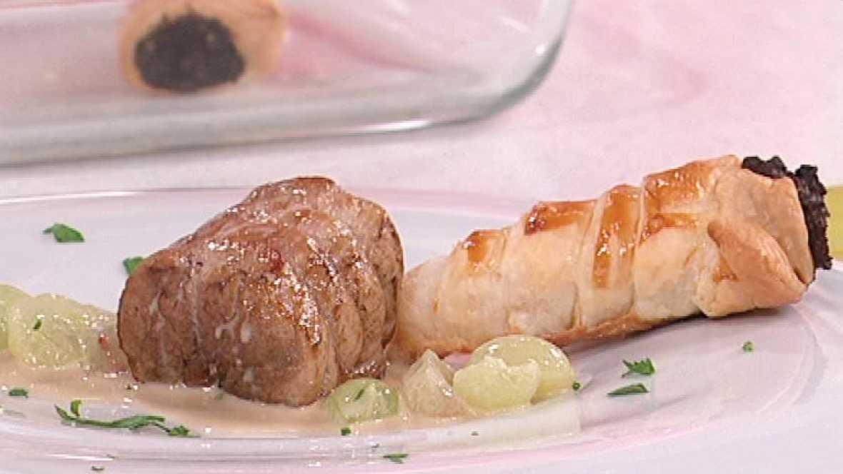 saber cocinar solomillo de cerdo con uvas y cucuruchos