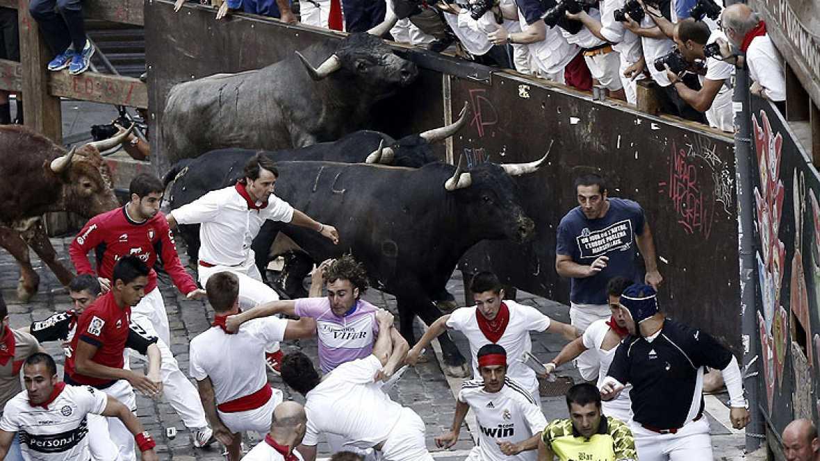 Veloz octavo encierro de San Fermín 2013 con toros de Miura