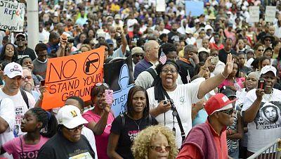 Protestas en EE.UU. pidiendo justicia por la muerte de Trayvon Martin