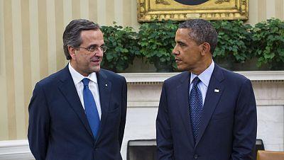 Obama destaca la importancia de impulsar el crecimiento en Grecia y reafirma su apoyo al primer ministro griego, Andonis Samarás