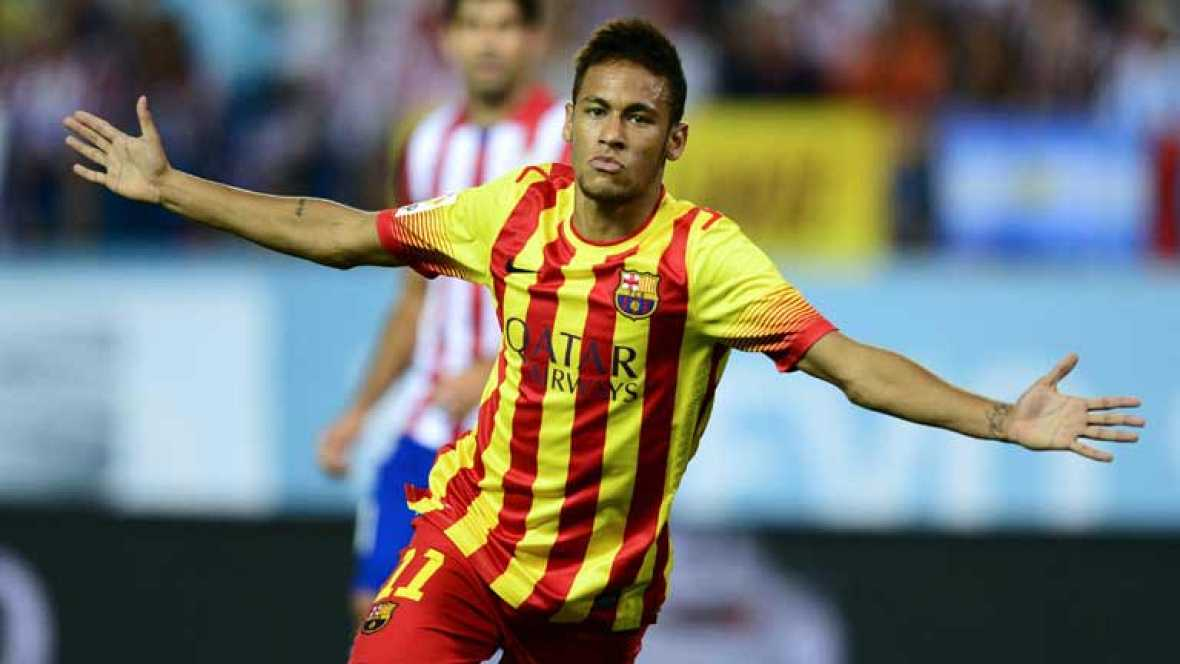 Neymar ha empatado de cabeza ante el Atlético de Madrid (1-1) en el minuto 66 de juego de la Supercopa de España. Es el primer tanto oficial del brasileño con la camiseta del Barça.