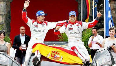 El piloto español Dani Sordo (Citroen) ha conseguido este domingo  su primera victoria en el Campeonato del Mundo de rallys al imponerse  en el de Alemania, novena prueba de la temporada, después de terminar  por delante de Thierry Neuville (Ford) y