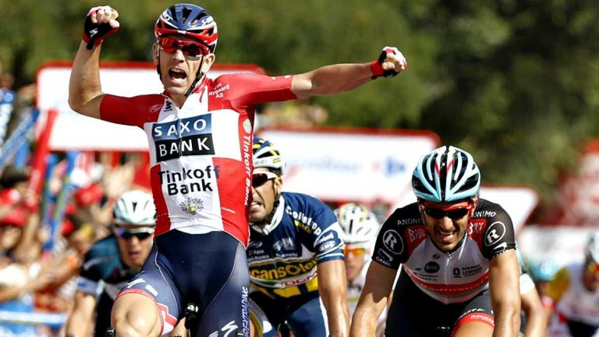 El danés Michael Morkov, del Saxo Tinkoff, ha ganado sexta etapa de la Vuelta disputada entre Guijuelo y Cáceres, de 175 kilómetros, mientras que el italiano Vincenzo Nibali (Astana) mantuvo el jersey rojo de líder. Morkov fue el más rápido al 'sprin