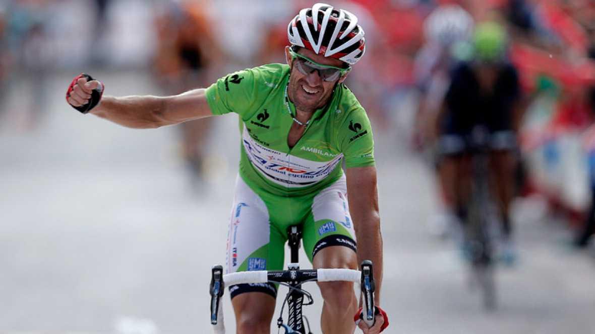 El ciclista español Dani Moreno ha logrado este domingo la  victoria en Valdepeñas de Jaén y se ha puesto líder de la General en  la Vuelta a España, tras lograr abrir un hueco en el último kilómetro  --con rampas de hasta el 27 por ciento-- con sus