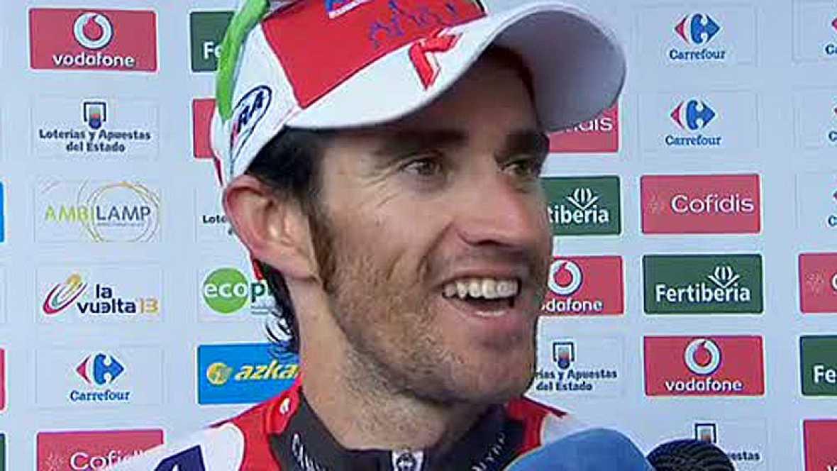 """El ciclista de Katusha Dani Moreno se ha mostrado muy contento tras ganar la etapa en Valdepeñas de Jaén, donde se ha vestido de rojo. """"Nunca había sido líder de la Vuelta, ir de rojo es espectacular"""", ha asegurado Moreno, que ha añadido que no puede"""
