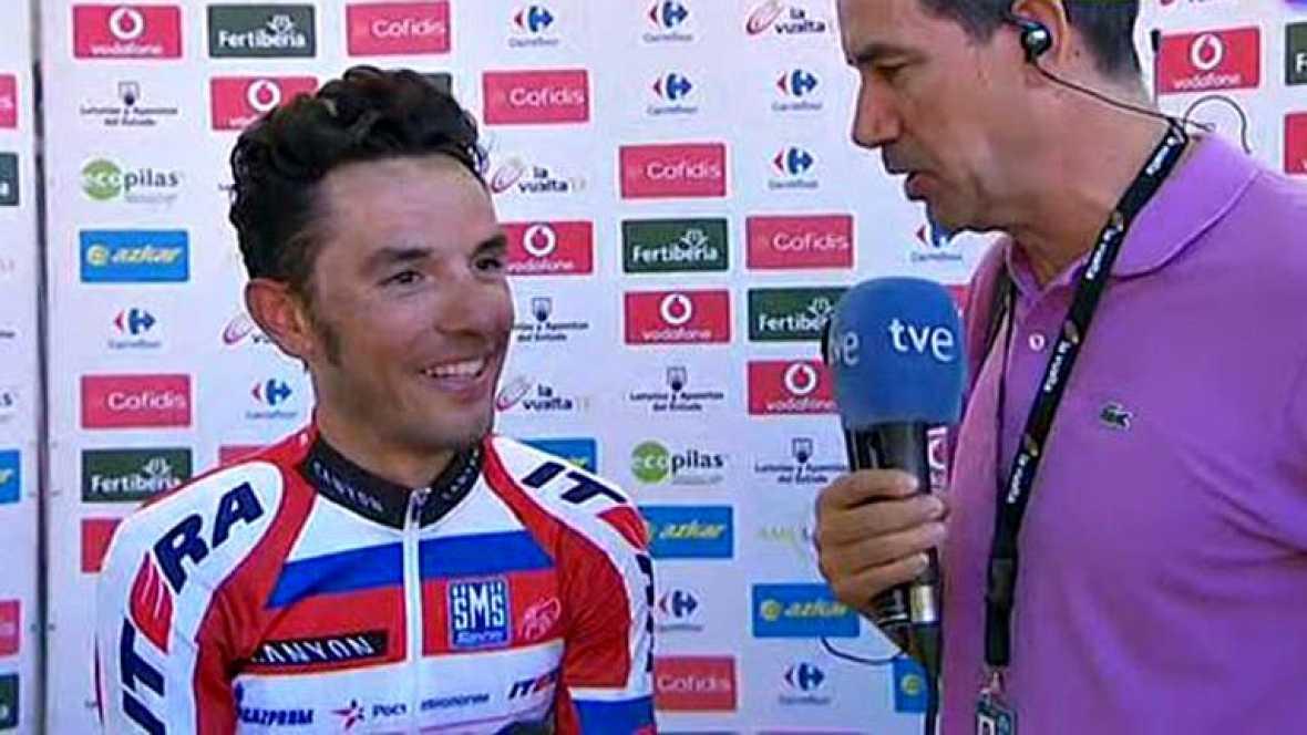 """El vencedor de la etapa de hoy en el Alto del Naranco, Joaquim Rodríguez (Katusha), ha dicho nada más llegar a la meta que """"esta es una de las victorias que valen doble"""" por el trabajo del equipo y por la escasez de fuerzas con las que ha encontrado"""