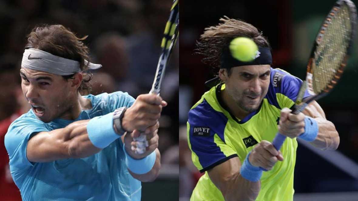 Rafa Nadal y David Ferrer se ven las caras este martes en su estreno en la Copa de Maestros que se celebra en Londres entre los ocho mejores tenistas de la temporada.