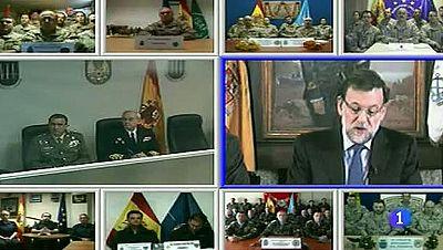 Mariano Rajoy felicita la Navidad por videoconferencia a las tropas españolas en el exterior