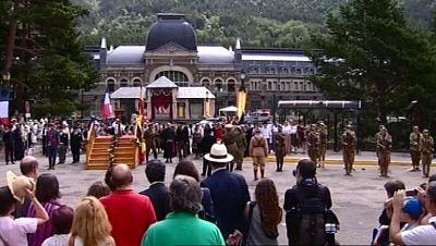 Canfranc revive 86 años después la inauguración de su estación de tren y pide que se reabra la línea ferroviaria