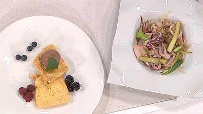 La ma�ana - Chipirones a la plancha con salteado de cebolletas y trigueros y torrijas con pan Brioche