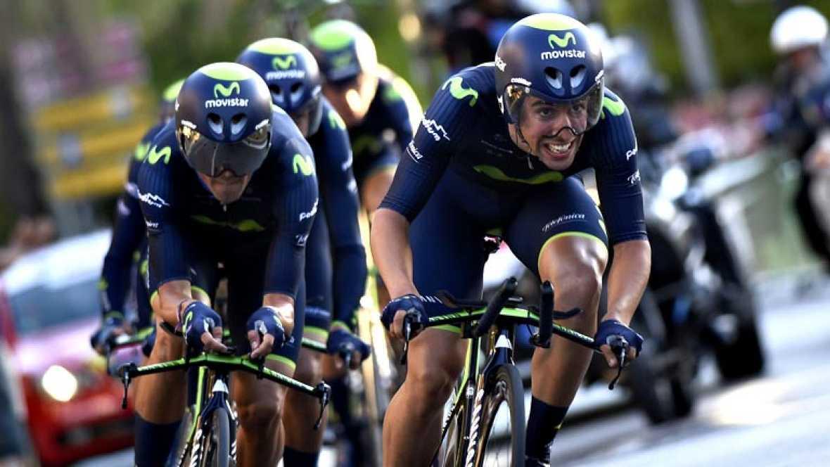 El Movistar Team ha conquistado este sábado la contrarreloj por  equipos que ha abierto La Vuelta ciclista a España 2014, disputada  sobre 12,6 kilómetros en Jerez de la Frontera, un pistoletazo de  salida en el que predominaron las estrategias conse