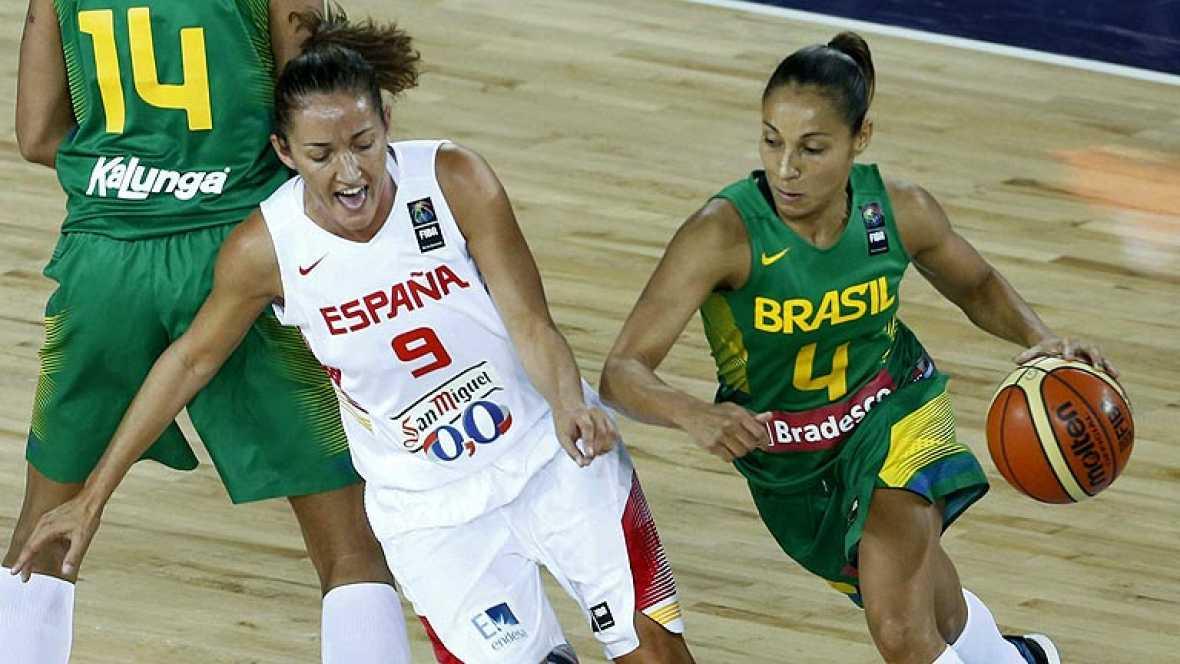 La selección española femenina de baloncesto se impuso (83-56) este domingo a Brasil, en su segundo encuentro del Mundial de Turquía, con una brillante victoria en un duelo en el que la pívot Sancho Lyttle fue la máxima anotadora con 19 puntos, ademá