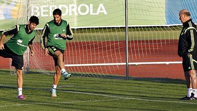 El seleccionador nacional de fútbol, Vicente del Bosque, realizó las primeras pruebas para el partido del jueves ante Eslovaquia, en una sesión vespertina de entrenamiento en la que juntó a todos los internacionales y probó con un ataque formado por