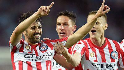 En su primer partido con el Melbourne City australiano, el español David Villa ya ha dejado su sello de goleador al ser el autor del tanto de su equipo.