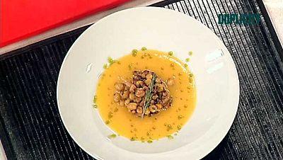 Cocina con Sergio - Garbanzos con sopa de calabaza y marisco - ver ahora
