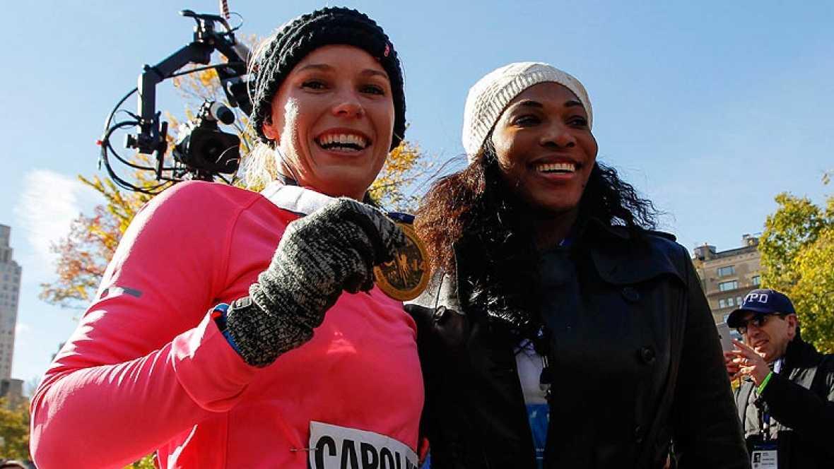 Caroline Wozniacki, feliz tras terminar el maratón de Nueva York
