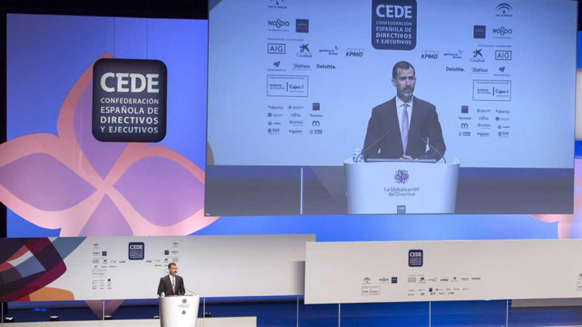 """Felipe VI: """"El trabajo eficaz de los directivos es clave para impulsar un tejido productivo fuerte y ágil"""""""