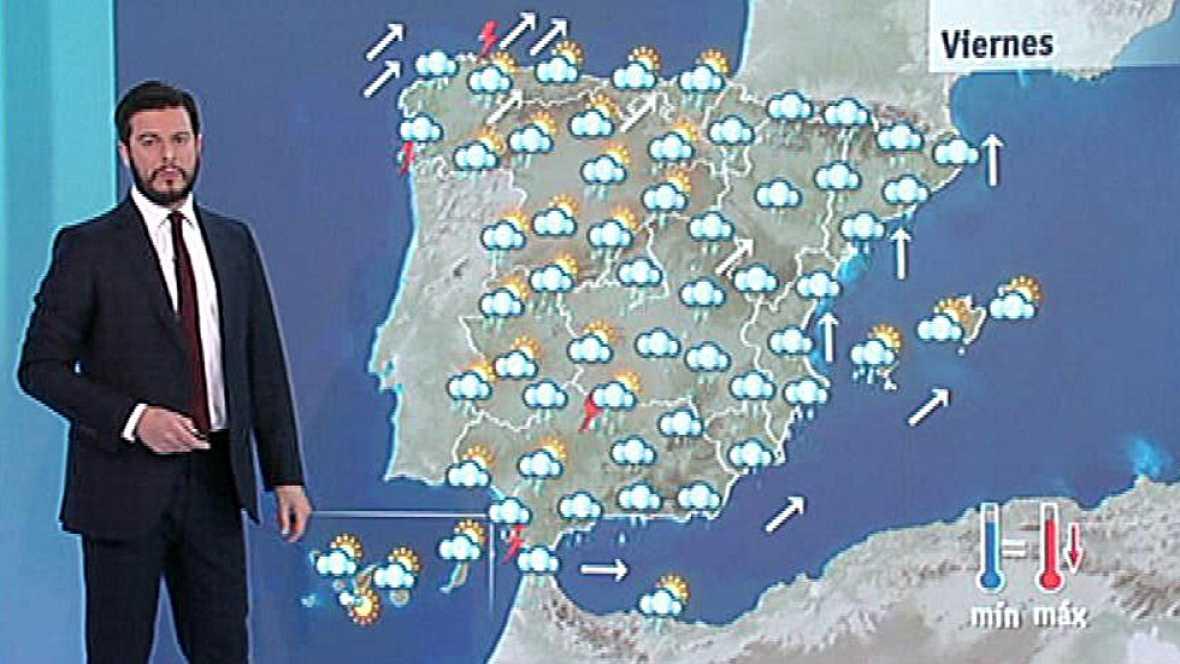 Lluvias en Pirineos, suroeste y Galicia, donde soplará viento fuerte