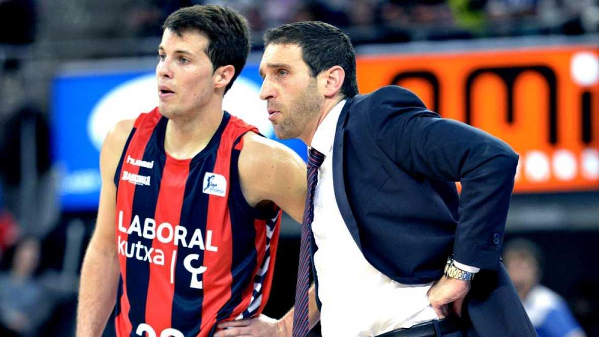 El técnico interino Ibon Navarro apaga el fuego vitoriano. Su Laboral Kutxa Baskonia, con problemas frente al Gipuzkoa Basket en la primera mitad, acabó venciendo por un claro 79-62 en el derbi vasco.