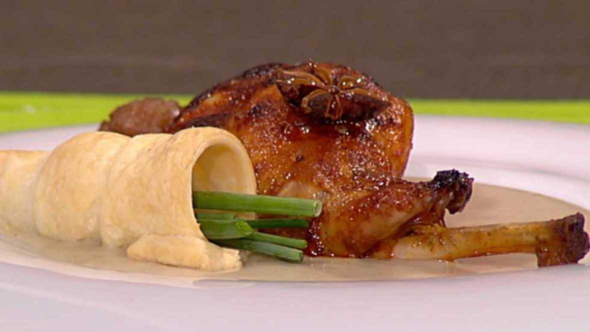 Cocina con Sergio - Conejo asado con crema de boletus y castañas - ver ahora