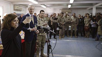 La vicepresidenta del Gobierno visita a las tropas españolas desplegadas en Afganistán