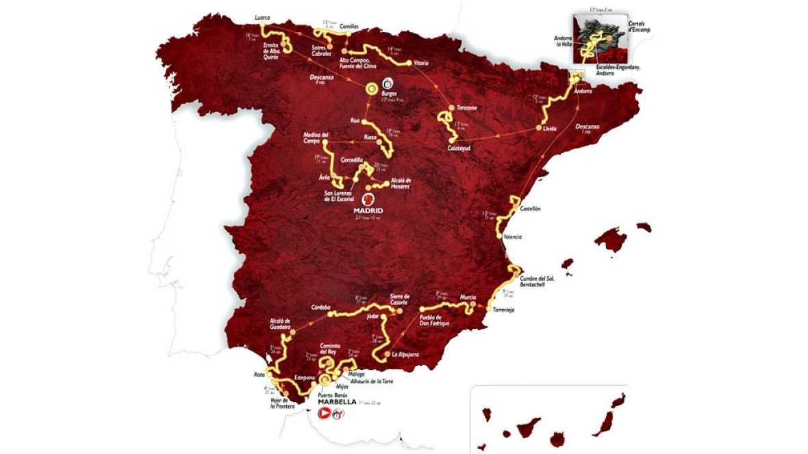 """La Vuelta 2015 cumplirá 70 ediciones fiel a su filosofía de """"mirar al cielo"""" y buscar el espectáculo hasta el último metro, según el recorrido desvelado en Torremolinos (Málaga), en el que se incluyen 10 llegadas en alto, todas inéditas."""