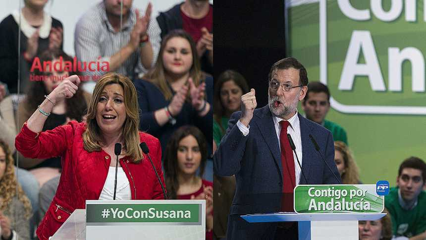 """Rajoy cree que votar a IU, Podemos, UPyD y C's es votar al PSOE y Díaz dice que """"está de los nervios"""""""