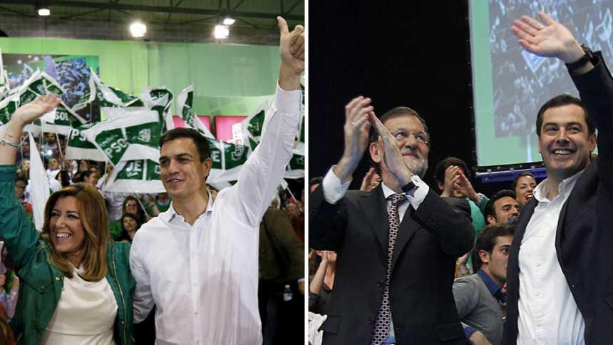 Los líderes nacionales arropan a sus candidatos en el cierre de la campaña electoral andaluza, en Sevilla