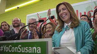 """Díaz celebra la """"victoria histórica"""" del PSOE que abre """"un tiempo nuevo"""" para Andalucía"""